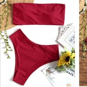 NWT Zaful High Cut Bandeau Bikini Set